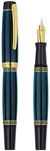 Xezo Maestro LeGrand Diamond Cut, Lacquered,18K Gold Plated Fine Point Handcrafted Fountain Pen in Dioptase - Fountain Krone Pen
