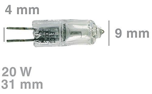 Lampara halógena universal G4 20W 12V 300°C para horno, campana ...