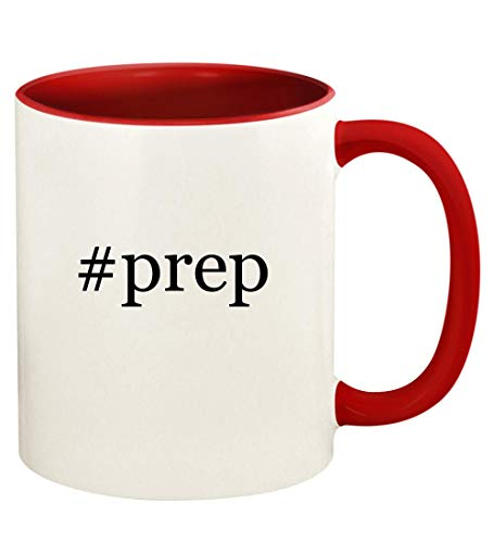 #prep - 11oz Hashtag Ceramic Colored Handle and Inside Coffee Mug Cup, Red