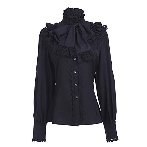 Nuoqi Women Lolita Lace Stand-Up Collar Black Lotus Ruffle Shirt Retro Victorian Blouse GC238B-XXL