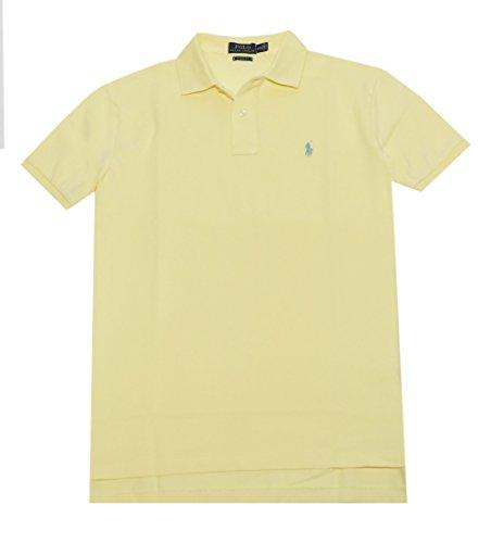 Polo Ralph Lauren Mens Classic Mesh Polo Shirt (Bright Corn, M)