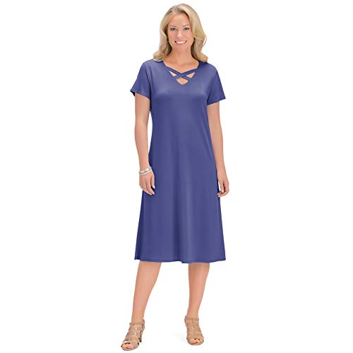 Women's Lattice Cutout Trim Design Jersey-Knit V-Neck Dress, Just Below The Knee Style, Navy, Xx-Large - Made in The USA