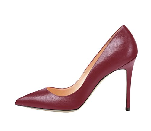 Shoes Summer Stiletto Spring Size Solid SexyPrey Court Pointed Heels Women's for Wine Autumn Toe Big xRC7fq