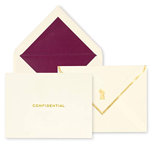 Kate Spade New York Greeting Card Set of 10 with Blank Interior and Lined Envelopes, Keyhole ()
