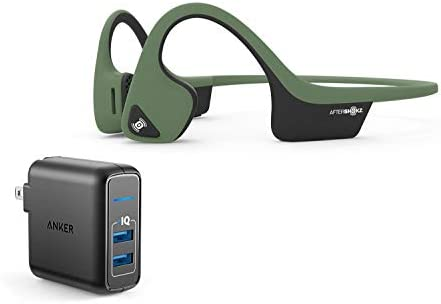 AfterShokz Trekz Air Wireless Bluetooth Headphones Bundle with Dual Port 24W USB Travel Wall Charger – Forest Green