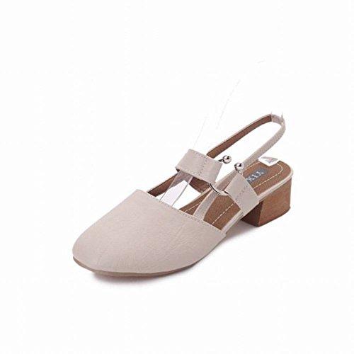 Tarde de Mujer de Noche Retro Gruesa con Zapatos Solos Zapatos de Mujer de Palabra Baotou Sandalias Sandalias de Moda Adultos Goma Tacón Medio (3-5 Cm) Levantamiento Zapatos de Viscosa Baja Ayuda Corr