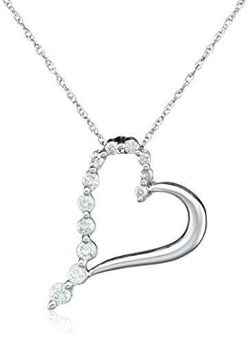 10k White Gold Diamond Journey Heart-Shaped Pendant (1/4 cttw, H-I Color, I2-I3 (Gold Journey Diamond)