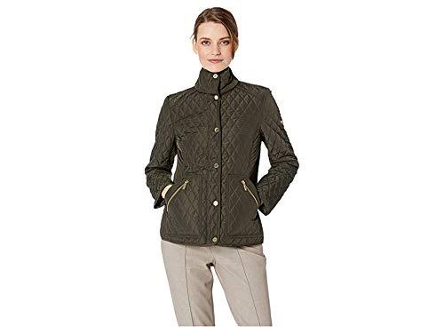 Michael Michael Kors Women's Snap Front Short Quilt M422355GZ Dark Moss Large