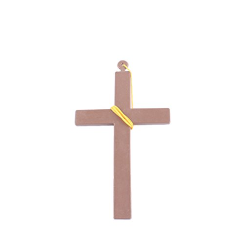 Tinksky Exorcist Priest Monk Plastic Cross Crucifix Fancy Dress Necklace for Christmas (Yellow String)