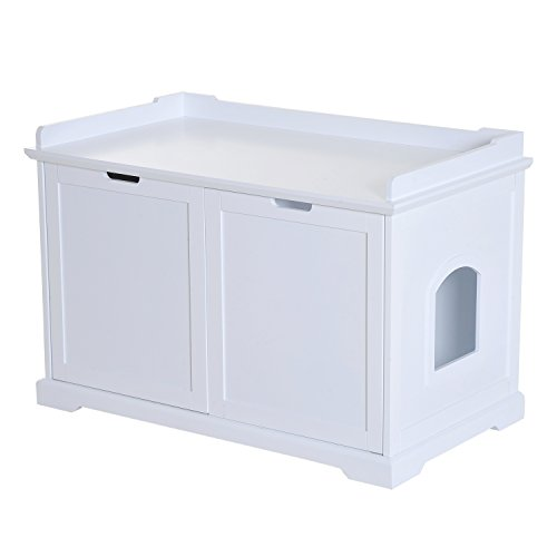 Pawhut Covered Cat Litter Box Washroom Storage Hideaway Cabinet (White) (Washroom Box Cat Litter)