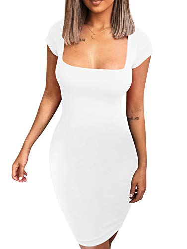 BEAGIMEG Women's Sexy Square Neck Bodycon Elegant Short Mini Party Dress White ()