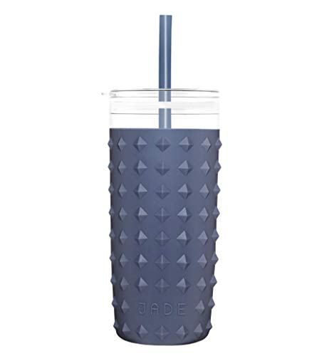 Jade Plastic Insulated Tumbler Cup with Spill-Proof Lid and Straw | Comfortable Silicone Sleeve in 8 Modern and Classic Colors | 30 oz (Navy Blue)