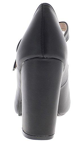 ChaussMoi Bombas de Gran Tamaño Negro 10,5 cm con Tacones de Cuero de Brida
