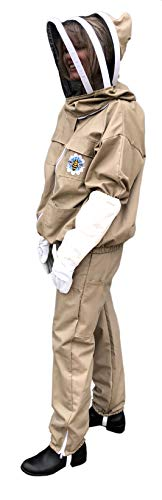 Honey Bee Safe Beekeeper Beekeeping Suit 100% Cotton Khaki Beekeeping Jacket and Cargo Pants Combo with Detachable Hooded Veil and Supple Leather Gloves ()