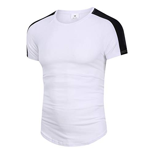 iHPH7 T-Shirt Men Short Sleeve T-Shirt Men Fashion Contrast Color Stitching Two Color Slip Shoulder Round Collar Casual T-Shirt Short Sleeve Shirt L White]()