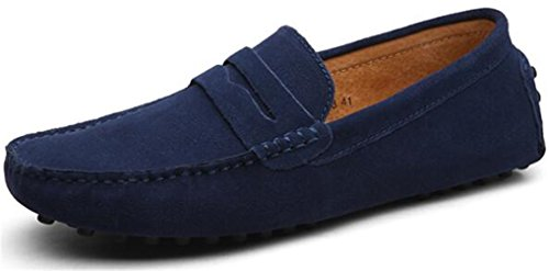 2345 Leather - PPXID Men's Suede Leather Slip On Loafers Casual Shoes-Dark Blue 10 US Size