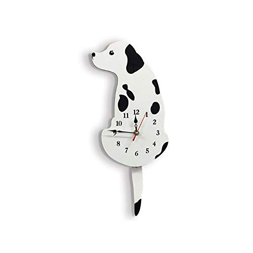 Stylish Modern DIY Wall Clock Acrylic Wag Tail Dog Home Creative Mute Personality Creative Fashion Atmosphere for Kitchen, Living Room, Bathroom, Bedroom, Office,White
