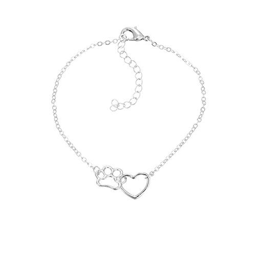 dwcly Romantic Love Heart Cute Pet Pawprint Necklace Charm Gift for Women Girls (Silver ()