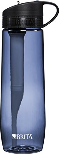 Brita 23.7 Ounce Hard Sided Water Bottle with 1 Filter, BPA Free, Gray