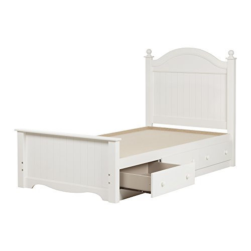 """south shore savannah twin bed set with 3 drawers, 39"""", pure white"""