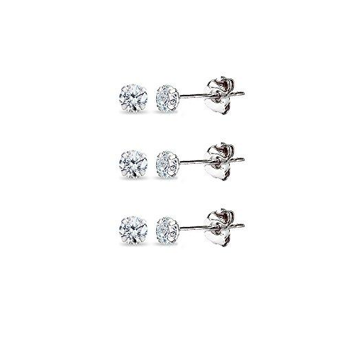 3 Pair Set 14K White Gold Cubic Zirconia Tiny 2mm Round Stud Earrings for Men, Women, Boys & Girls