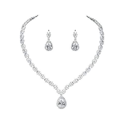 WeimanJewelry Silver/Gold Plated Women Cubic Zirconia CZ Marquise Teardrop Bridal Tennis Necklace and Drop Earring Set for Wedding Brides (Silver)