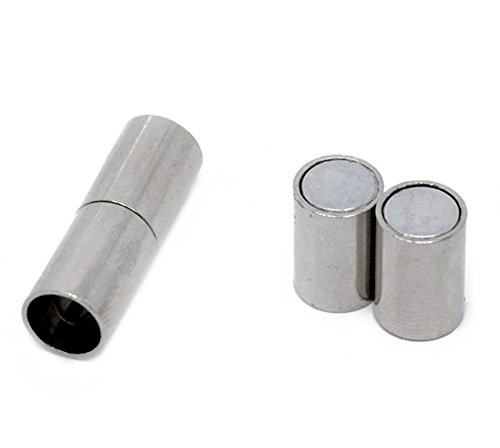 Housweety 10 Sets Silver Tone Barrel Magnetic Clasps 24x8mm