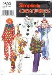 Simplicity 9800 Adult Clown with Hat Costume Sewing Pattern, Small, Medium and -
