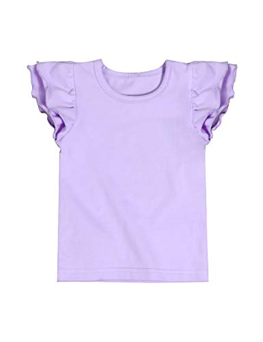 Infant Toddler Baby Girl Top Basic White Plain Ruffle Tee Short Sleeve T-Shirts Blouse Clothes 4-5 T
