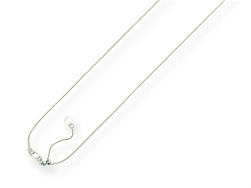 Finejewelers 14k White Gold 22 Inch bright-cut Adjustable Cable Chain Necklace Lobster Clasp and Small Heart Charm