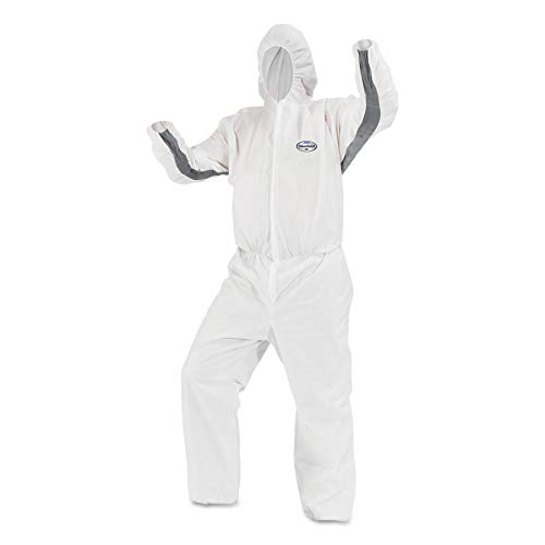 KleenGuard 46144 A30 Elastic-Back and Cuff Hooded Coveralls, X-Large, White (Case of 25)