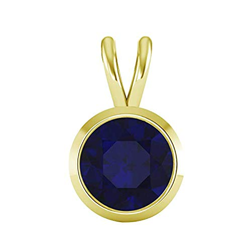 - OMEGA JEWELLERY 1/2 Ct Round Cut Gemstone Bezel Set Solitaire Pendant in Solid 10K Yellow Gold (Blue Sapphire)