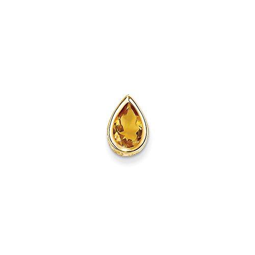 14k Yellow Gold Polished Open back 9x6mm Pear Citrine Bezel Pendant