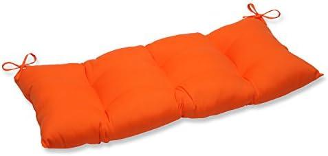 Pillow Perfect Indoor Outdoor Sundeck Orange Swing Bench Cushion
