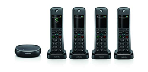 - Motorola AXH04 Cordless Phone with Alexa Built-in and Call Block for Landline Calls, Alexa Calling and Skype Calls and Voice Control of All Alexa Enabled Smart Home Accessories - 4 Cordless Handsets