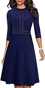 Edjude Ejude Women's Chic Wear to Work Dress Lady Crew Neck 3/4 Sleeve Party Aline Formal Casual Dress Clo