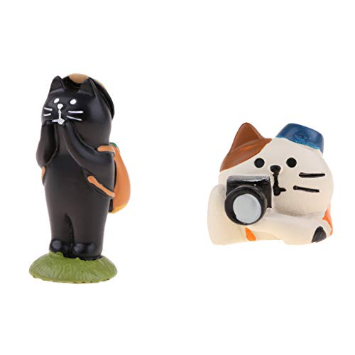 2pcs 1/12 Dollhouse Decor Miniature Figurine Kids Gift Home Desk Ornaments, a Cat and a Bear from Flameer