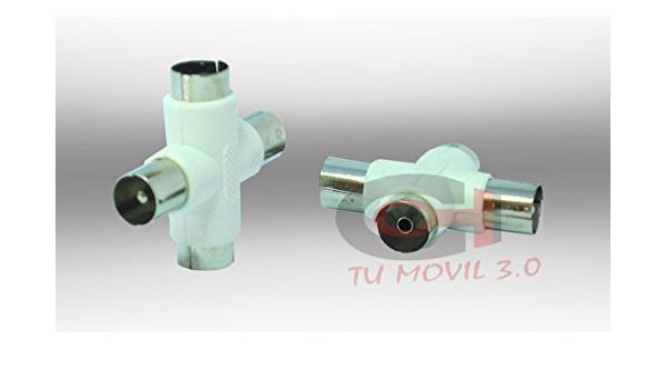 2x Adaptador duplicador divisor splitter coaxial ladron antena 3 ...