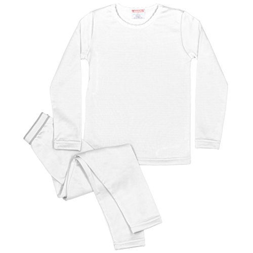 Rocky Girls Fleece Lined Thermal 2PC Underwear Set Top and Bottom (M, White)