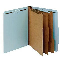 Office Depot Pressboard Classification Folders With Fasteners, Letter Size, 100% Recycled, Light Blue, pk Of 10, OD24094