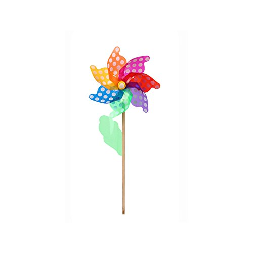 LVOERTUIG Colorful PVC DIY Wooden Handle Windmill Rainbow Poly Petal Pinwheel Home Garden Party Wedding Decoration Kid Toy(32cm,Wave point windmill)