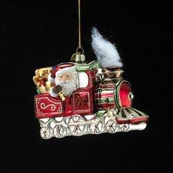 Noble Gems Kurt Adler Glass Santa on Christmas Train Ornament, -