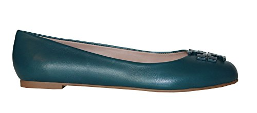 Tory Burch Lowell 2 Ballet Flat Classic TB Logo Women's Leather Shoes Deep Sea (6) - Tory Burch Ballerina Flats