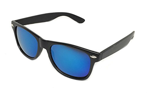 Sunglasses Classic 80's Vintage Style Design (Black, Blue Sky) - With Sunglasses Lenses Blue Black