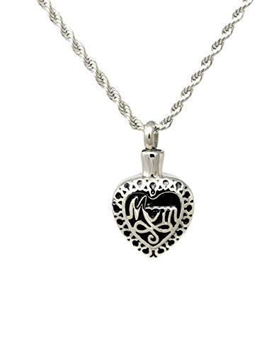 Katie Collection by Urnseller Heart Shaped Cremation urn Necklace for Ashes (Mom)