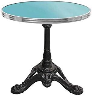table basse ronde bleu d\'eau avec cerclage en inox - h43 x ...