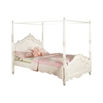 furniture of america exandria princess style canopy bed twin pearl white