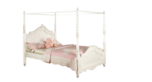 Furniture of America Exandria Princess Style Canopy Bed, Full, Pearl White Finish