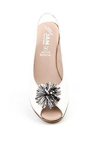 Conbuenpie by Jam - Zapato ancho especial con cuña cierre elastico color hielo