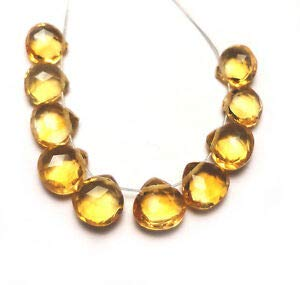 Gold Yellow Citrine Faceted Heart BRIOLETTE 10 Beads 407N 4.5x4.5x2mm to 6x6x3mm Crafting Key Chain Bracelet Necklace Jewelry Accessories Pendants